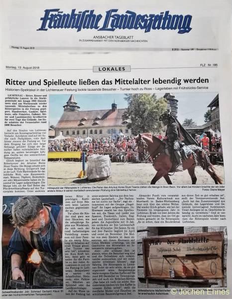 Ritterspiele Lichtenau 2018 - FLZ-Artikel vom 13.08.2018